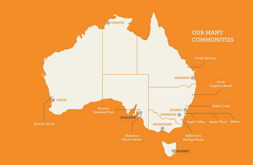 A map of Australia indicating the locations of a number of Walker Corporation development